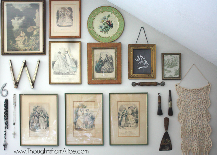 vintage wall frames. An eclectic gallery wall does well with a variety of textures and shapes  so I added textile hanging an old ruler that shaped into W for our Vintage Eclectic Gallery Wall