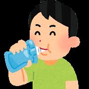 ゼリー飲料を飲む人のイラスト