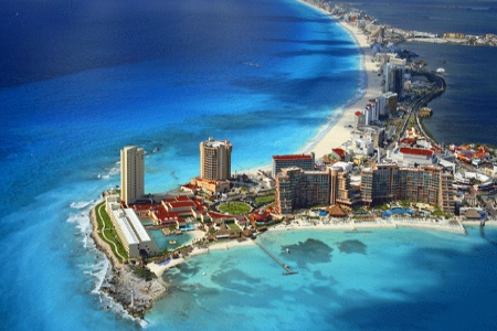 Cancun is situated on the southeast coast of Mexico in the state of