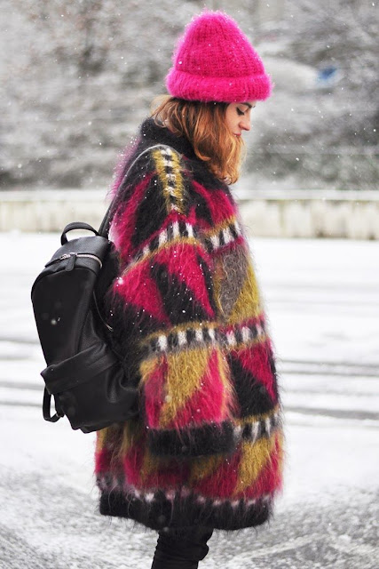 pop of colour in winter mohair