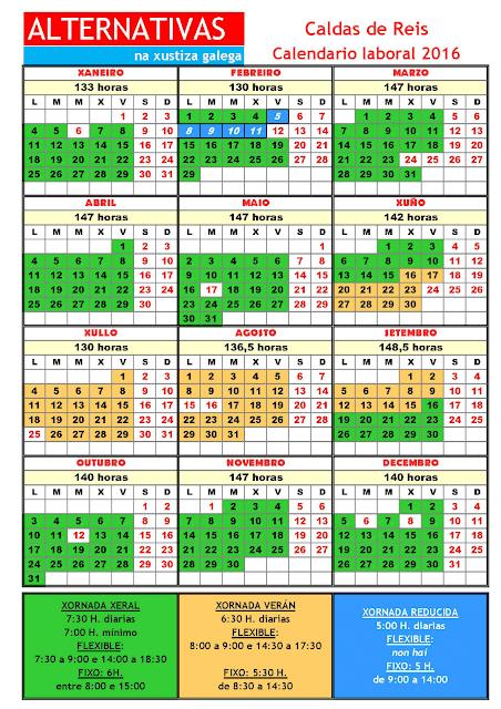 Caldas. Calendario laboral 2016
