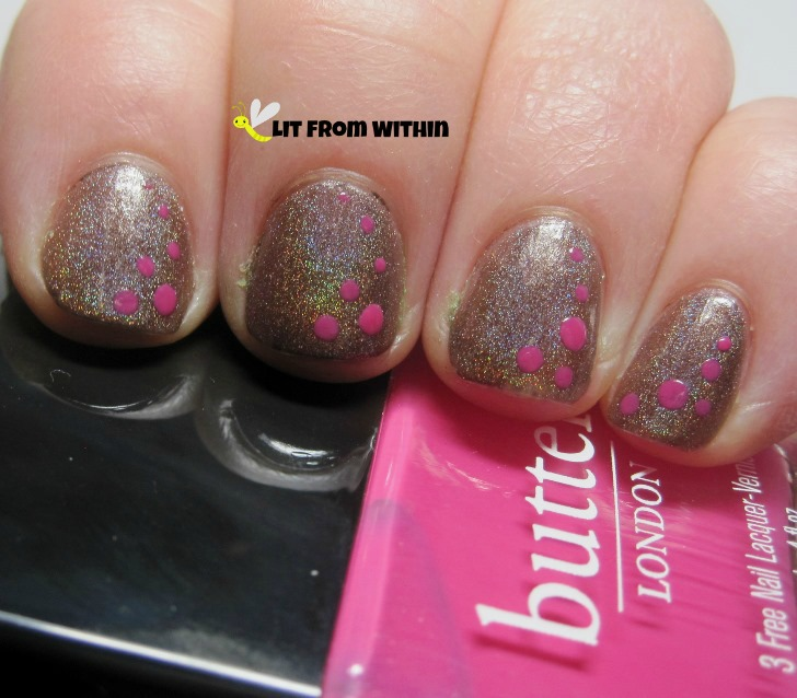 I made a few dots with Butter London Primrose Hill Picnic