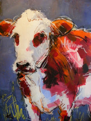 paint with acrylics, original Ayrshire cow painting