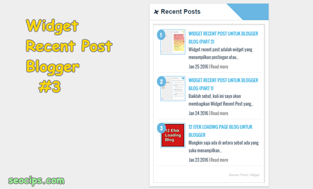How add Recent Post Widget on Blogger Blog (Part 3)