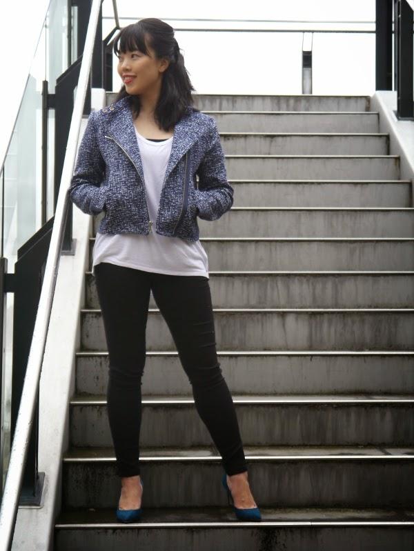 Blue textured moto, white tee, black skinny jeans, teal suede heels