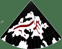 Feorad Isle, Calidar's northernmost land, mountain design, Lambert Conformal Conic Projection