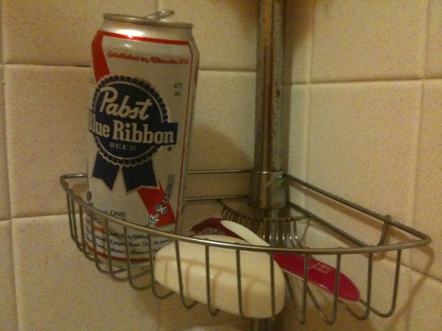 The shower beer is a great dude tradition. Singing in the shower while drinking beer. Suds and Suds