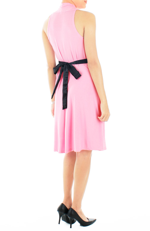 Marilyn Flare Halter Dress in Glowing Pink