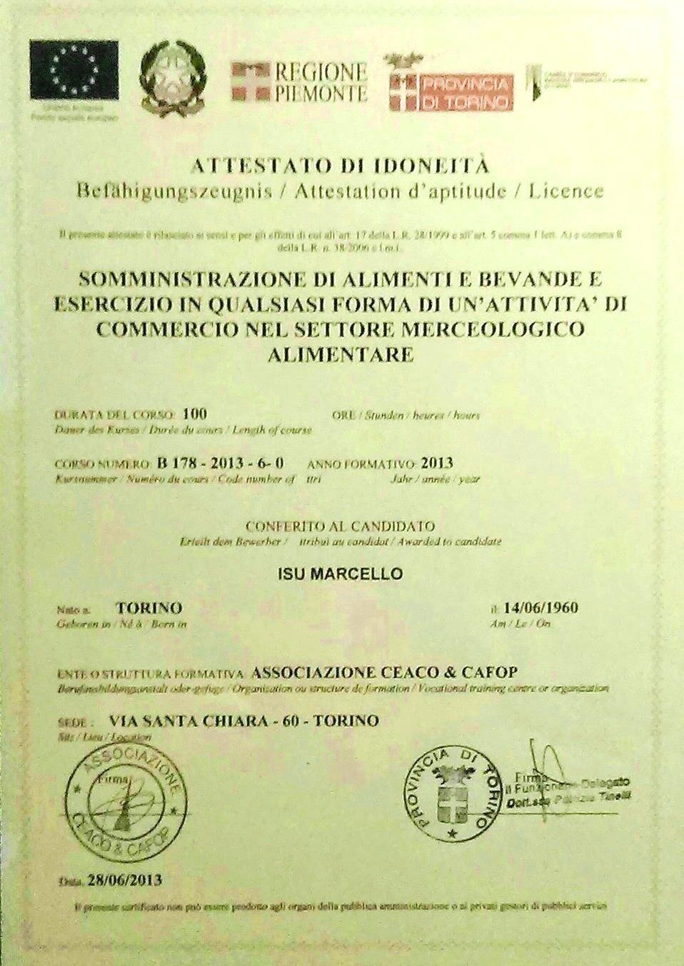 Attestato della Reg. Piemonte 2013