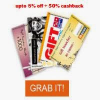 Indiatimes: Gift Cards and Vouchers upto 8% off + 50% Cashback (no min purchase)