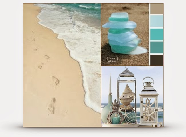 beach collage, sea shells, cool colors, dreaming of sand and hot temps