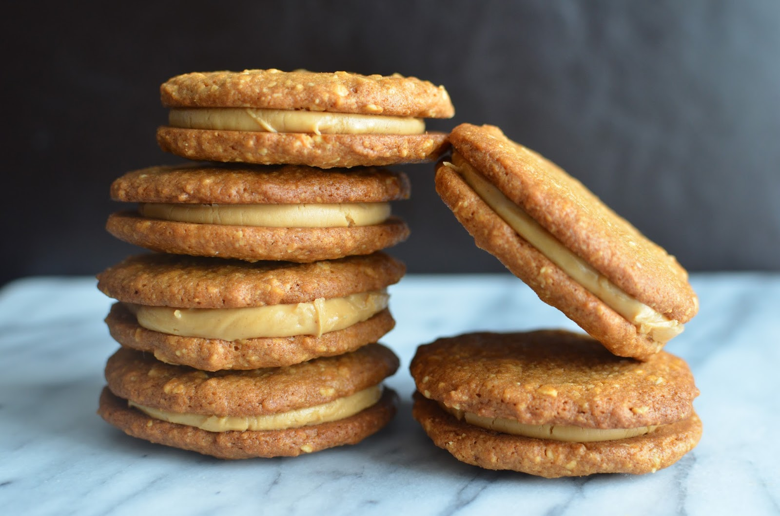 Peanut butter sandwich cookies with peanut-butter and milk chocolate ...