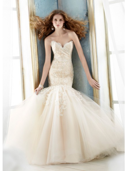 Sweetheart tulle champagne bridal dress