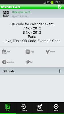 QR Code - Calendar - Example Scan Output in QR Droid Reader