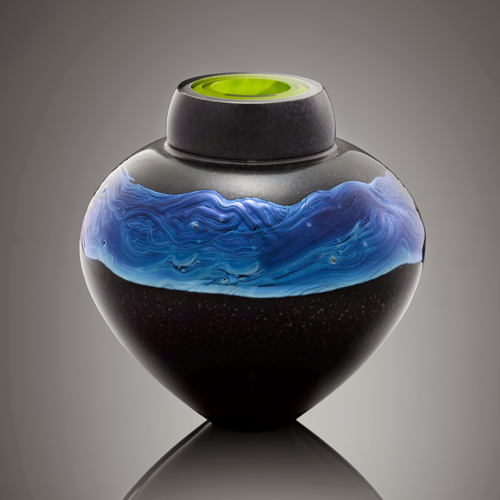 Black and Silver Hand Blown contemporary Art glass made in Vermont USA