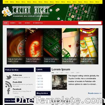 Casino Night blogger template. blogger template 3 column footer. template blogspot 3 column footer