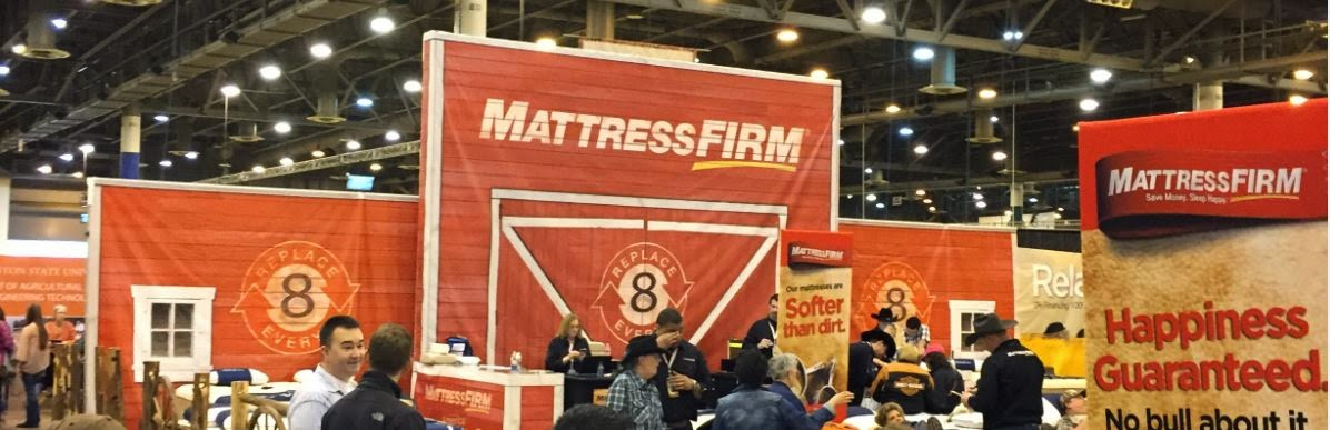 a mattress firm booth at the houston livestock show and rodeo