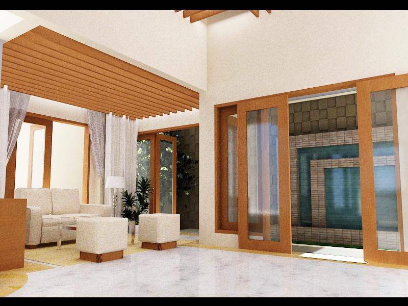 3D Interior Ruang Keluarga Rumah Bintaro
