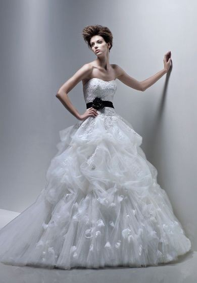 ball gown wedding dress with color accent