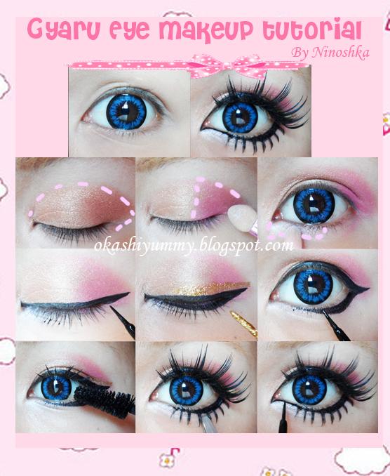Okashi Yummy: Gyaru eye makeup tutorial!