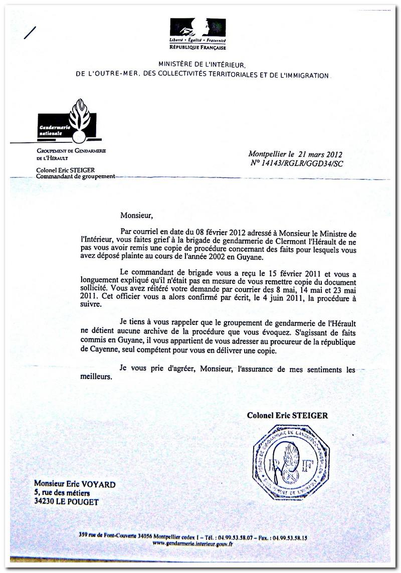Injustice flagrante n 24 gendarmerie de clermont l h rault - Lettre au procureur pour plainte ...