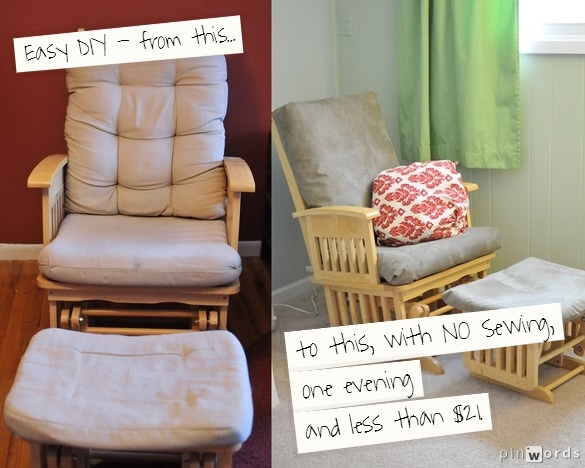 NO Sew, cheap, easy glider makeover - Attempting Agape: NO Sew, Cheap, Easy Glider Makeover