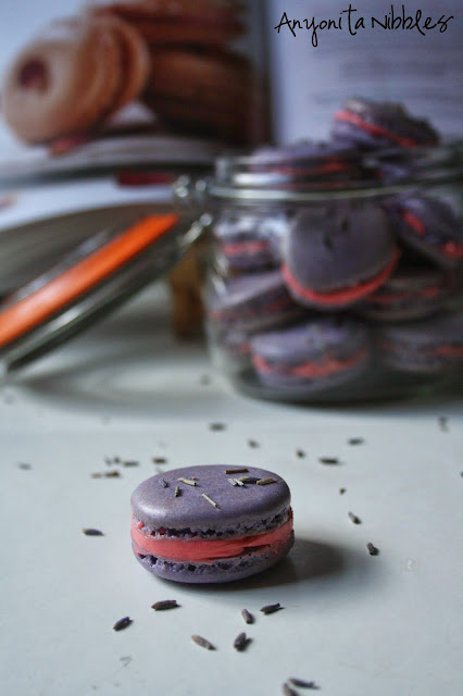 A #lavender and #rose macaron surrounded by lavender flowers from @anyonita