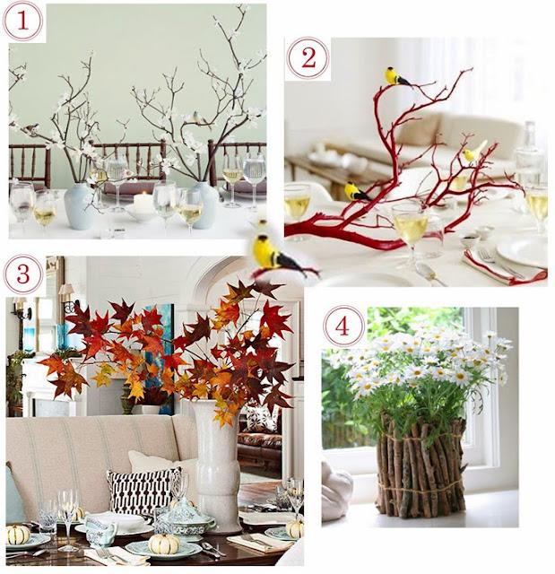 centros de mesa con ramas y troncos