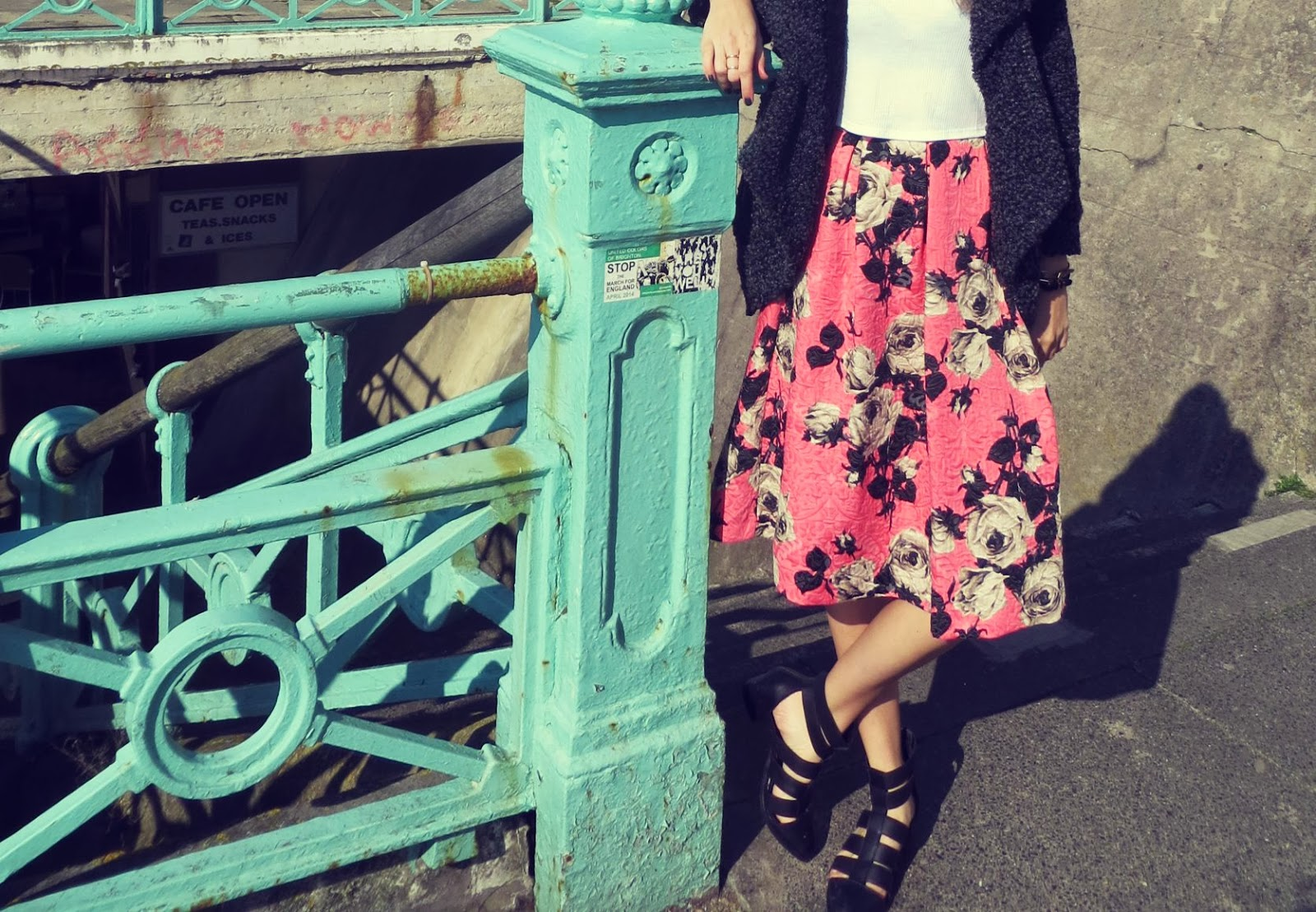 floral pink midi skirt topshop brighton inside my closet 2014
