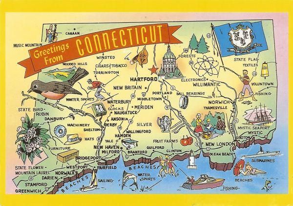 map postcard of Connecticut