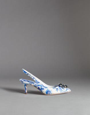 blue and white majolica print kitten heel slingback