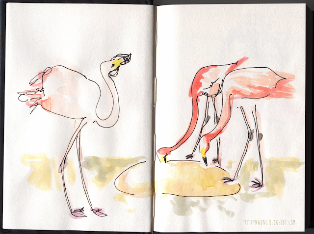 pink flamingos pentel brush pen gouache