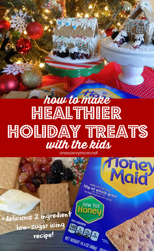 How To Make Healthier Holiday Treats With The Kids + Delicious 2 Ingredient Low Sugar Icing Recipe #HoneyMaidHouse Honey Maid Graham Crackers One Savvy Mom onesavvymom blog