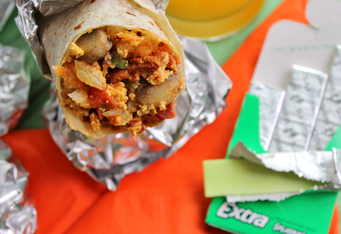 Extra Loaded Breakfast Burrito Recipe with Chipotle White Cheddar Sauce. Create #ExtraGumMoments when you make a sack lunch for someone who has done extra. #Shop