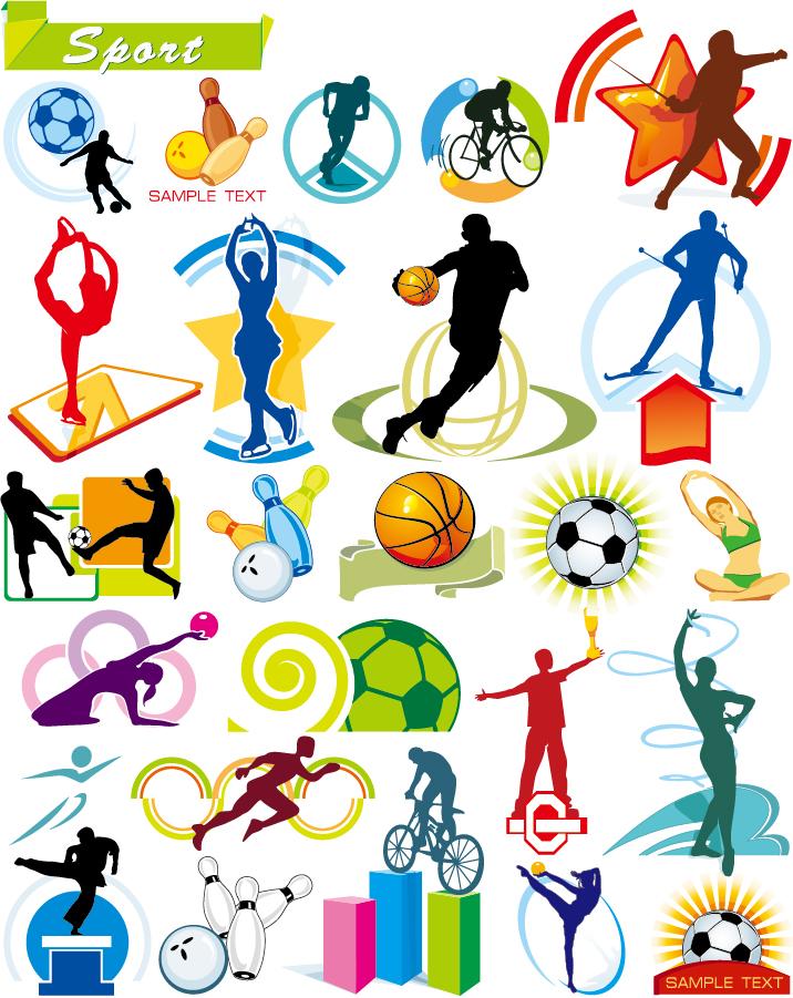 躍動感あるスポーツのシルエット sports silhouette vector イラスト素材