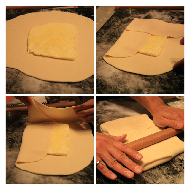 "Four pictures (clockwise from top-left) 1) Placing sheet of butter into middle of flattened dough, 2) folding bottom of dough over butter, 3) folding other sides over the butter to make it look like an envelope, 4) rolling ""the envelope"" flat with rolling pin."