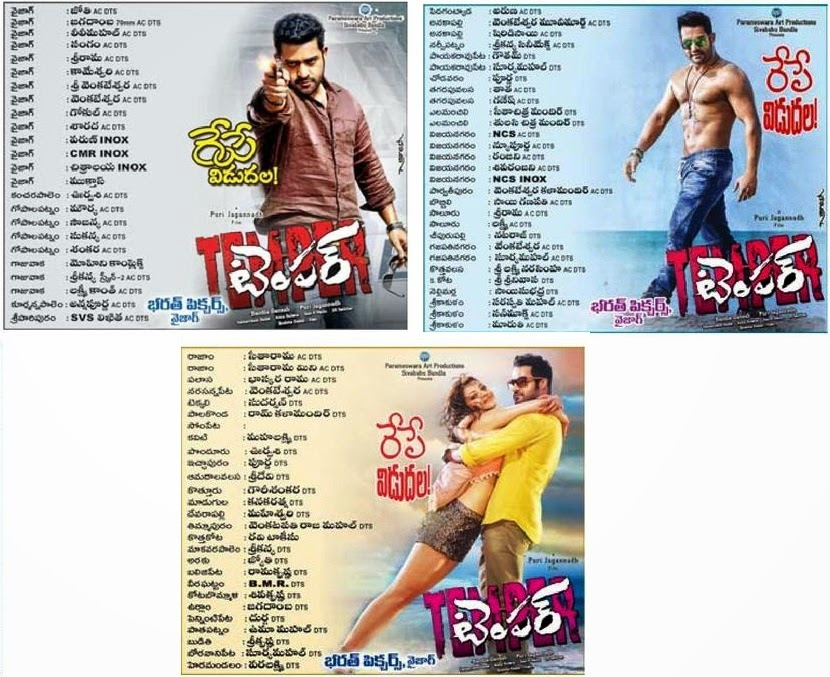 Jr NTR Temper Movie Andhra ceded Theaters List