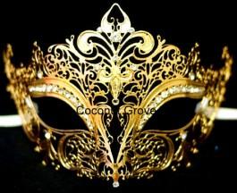 Máscara genuína italiana Veneziana Beghina Dourada