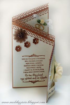 scrapbooking kartka ślubna składaczek card making kartki okolicznościowe Barbara Wójcik