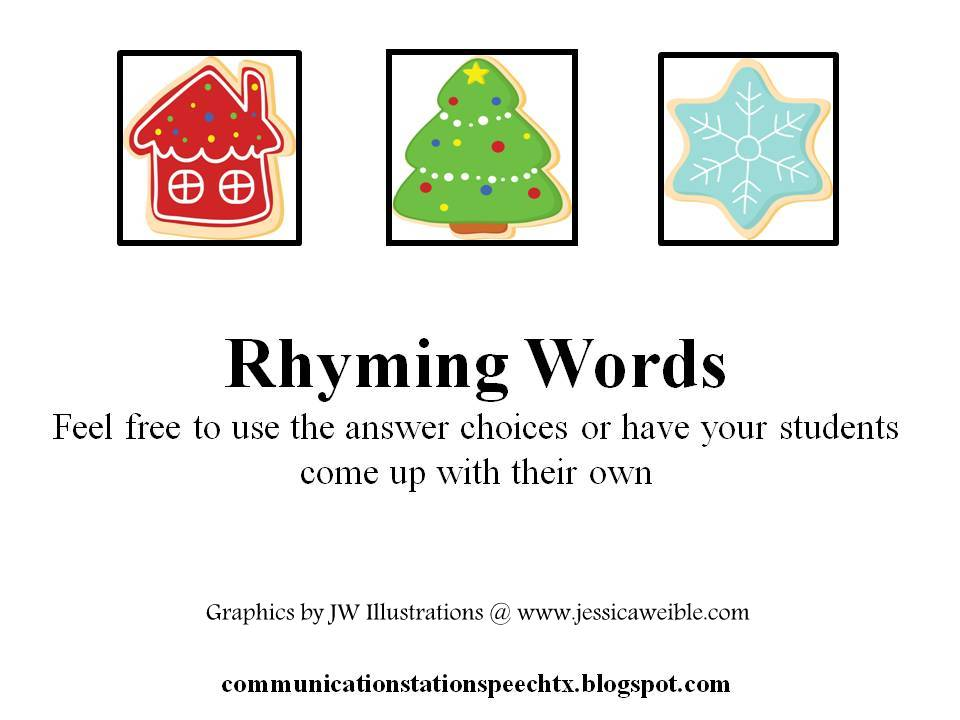 A Perfect Processing Christmas: Rhyming words - Communication Station: