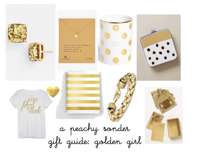 gift guide, golden girl, gold, christmas