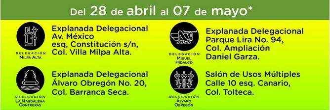 Delegaciones sedes del 28 de abril al 07 de mayo.