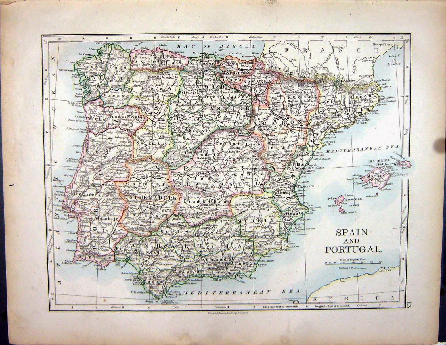 Mapa de España Alexander Keith Johnston 1897