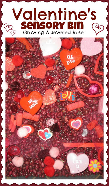 Valentines sensory bin for kids