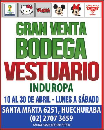 VENTA DE BODEGA ROPA INFANTIL INDUROPA hasta el 30 de abril