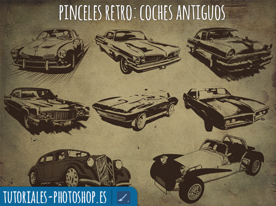 pinceles retro photoshop coches