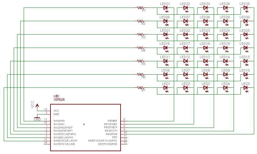 una matriz con leds: