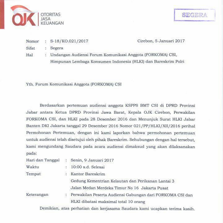 HASIL AUDIENSI FORKOMA CSI MABES POLRI DAN OJK PUSAT