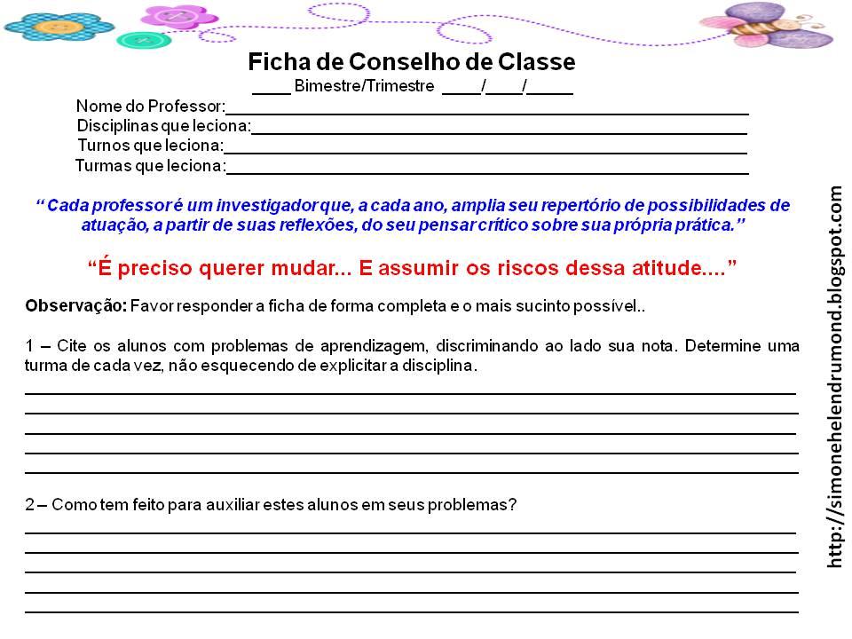 FICHAS DE AVALIA    O PARA CONSELHO DE CLASSE