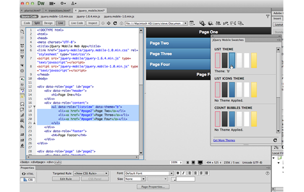 Screenshot Adobe Dreamweaver CS6